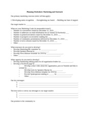 Planning Worksheet- Marketing and Outreach