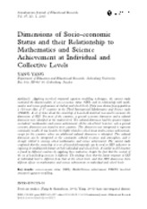 Dimensions of Socio-economic Status and their Relationship to Mathematics and Science Achievement at