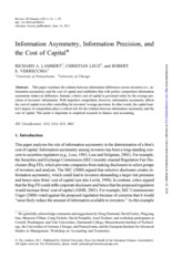 Information Asymmetry, Information Precision, and the Cost of Capital