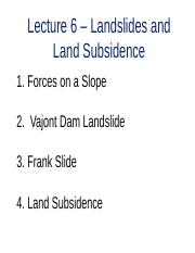 ES 2GG3 - Lecture 6 - Landslides and Land Subsidence - A2L