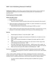 MKF 2121 Marketing Research Method Notes