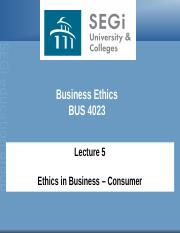 Lecture 5 - Ethics - Consumer