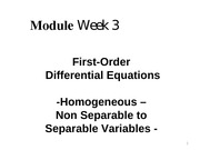 Module Week 3 - First - Order DE (Non Separable to Separables)