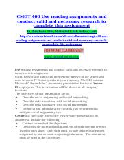 CMGT 400 Use reading assignments and conduct valid and necessary research to complete this assignmen