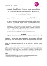 Analysis of the Effect of Corporate Social Responsibility on Financial Performance With Earnings Man