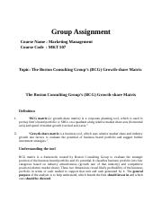 Assignment on BCG growth-share Matrix [Marketing Management]