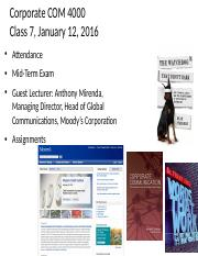 Class 7 Corp Comm 4000_1-12-16 mid term exam with Anthony Mirenda as guest lecturer.ppt