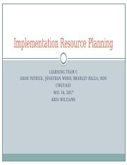 Learning Team Implementation Resource Planning