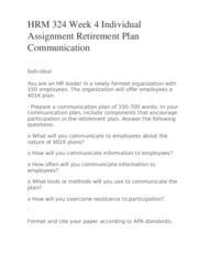 HRM 324 Week 4 Individual Assignment Retirement Plan Communication