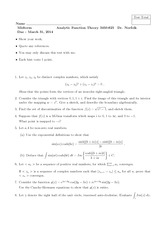 Midterm Exam A Spring 2014 on Analytic Function Theory