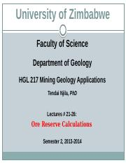 HGL 217 Mining Geology Applications Lectures 21-26