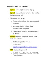 CS 1033A Class Notes SERVERS AND UPLOADING