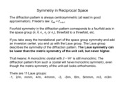 Symmetry in Reciprocal Space notes