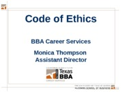 Week 6 - Code of Ethics, Recruiting Resources and Intl Business Lecture
