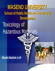 Topic 4 - Toxicology of Hazardous Materials - Categories of Toxic Substances and their effects.ppt