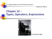 Chapter 12 - Types, Operators, and Expressions