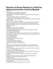 Recovery of Human Remains in a Fatal Fire Setting and the Role of the Fire Marshall