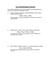 gas stoichiometry worksheet pressure of 10 atm and a temperature of 298 k 1 calcium carbonate decomposes at high temperatures to form carbon dioxide - Gas Stoichiometry Worksheet