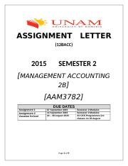 AAM3782_2015_Assignment_1_only_AAM3782_Management_Accounting_2B