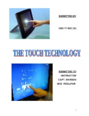 Touch Screen Technology and its Use1