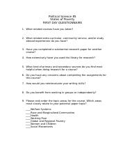 Political Science 85 Questionnaire