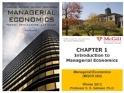 Chapter 1 (Introduction to Managerial Economics) Winter 2013