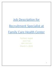 Job Description for Recruitment Specialist at Family Care Health Center