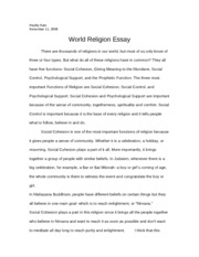 paper on religions
