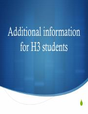 Information for H3 students