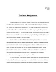 Product Analysis Assignment