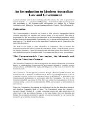 An Introduction to Modern Australian Law and Government.doc