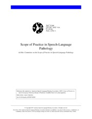 ASHA scope of practice SLP