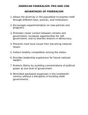 American Federalism Pros and Cons.doc