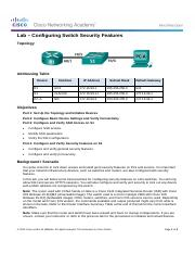 2.2.4.11 Lab - Configuring Switch Security Features