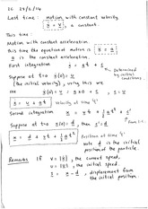 Motion with constant acceleration (notes)
