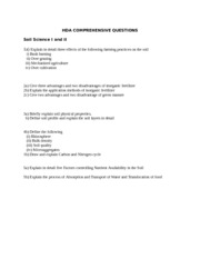HDA soil science COMPREHENSIVE QUESTIONS 1