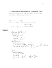 7.2 Integrals of Trig functions