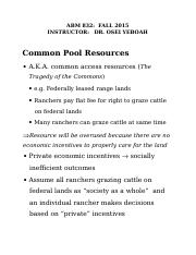 Common Pool Resources