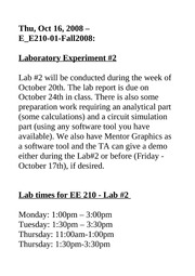 EE 210 - LAB SECTIONS SCHEDULE