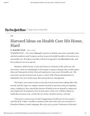 Harvard Ideas on Health Care Hit Home, Hard - The New York Times.pdf