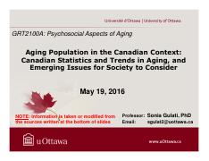 LECTURE 5 - Aging Population in the Canadian Context