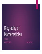 MTH 110 Biography of Mathematician