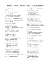 Physics 6A Final Formula Sheet