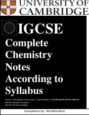 Complete-notes pdf - IGCSE Complete Chemistry Notes According to