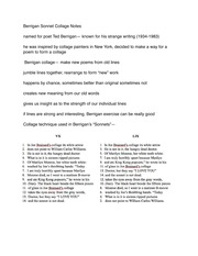 Berrigan Sonnet Class Notes