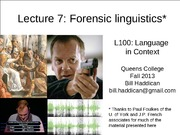 Lecture 7 Forensic Linguistics