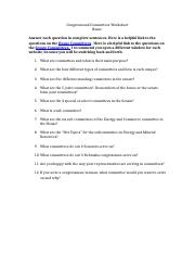Congressional Committees Worksheet