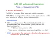 Topic 1 Intro to MNCs