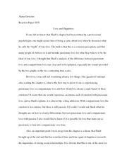 Reaction paper 10-31: Love and Happiness
