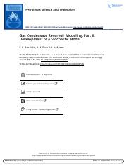 Gas Condensate Reservoir Modeling Part II Development of a Stochastic Model.pdf